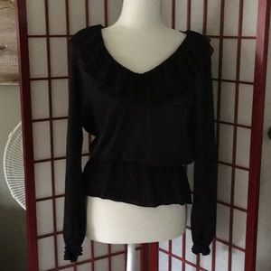WHBM / Black blouse with ruffle collar